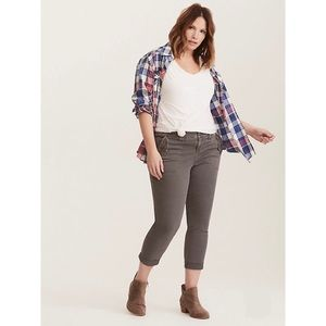 Torrid Cropped Twill Military Grey Wash Pants